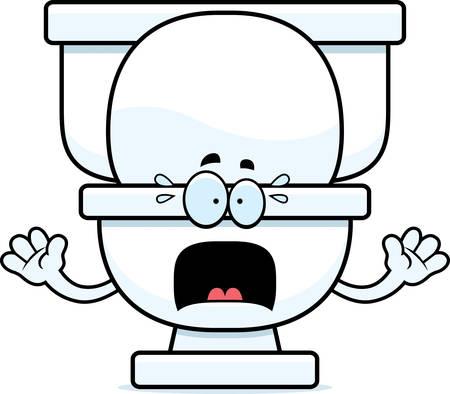 Un fumetto illustrazione di un gabinetto guardando spaventato. Archivio Fotografico - 43000813