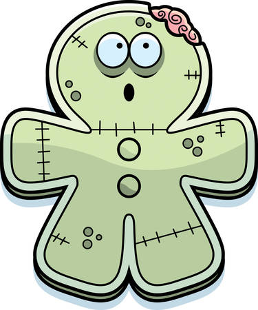A cartoon illustration of a gingerbread zombie looking surprised at a bite taken out of him.