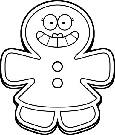 smilling: A cartoon illustration of a gingerbread woman smiling.