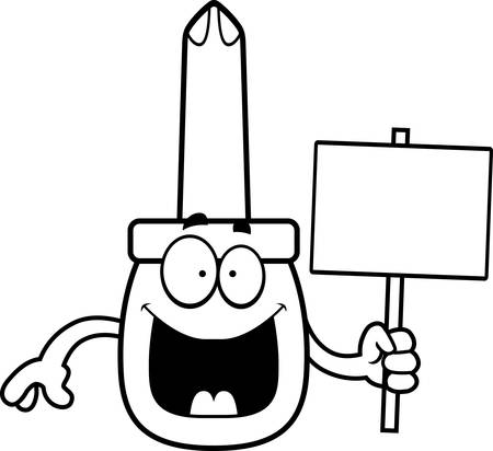 A cartoon illustration of a screwdriver holding a sign.