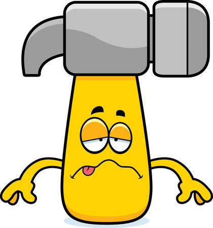 nauseous: A cartoon illustration of a hammer looking sick.
