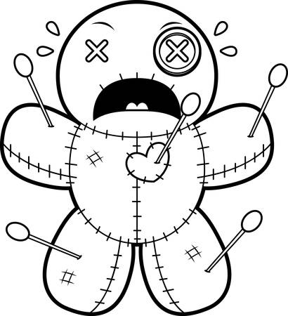 A cartoon illustration of a voodoo doll looking scared.
