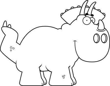 triceratops: A cartoon illustration of a Triceratops dinosaur smiling.