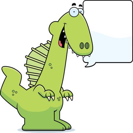 sail fin: A cartoon illustration of a Spinosaurus dinosaur talking. Illustration