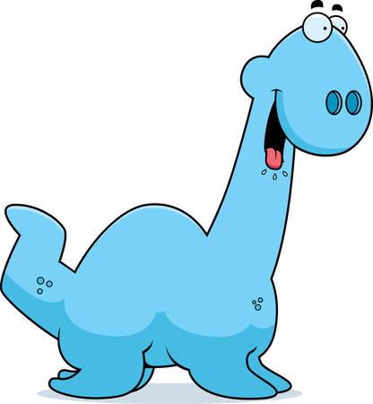 loch: A cartoon illustration of a Plesiosaur dinosaur looking hungry.