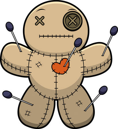 A cartoon illustration of a voodoo doll looking calm.