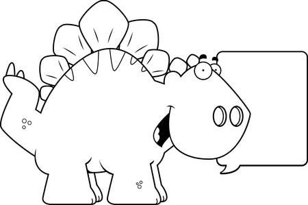 stegosaurus: A cartoon illustration of a Stegosaurus dinosaur talking.
