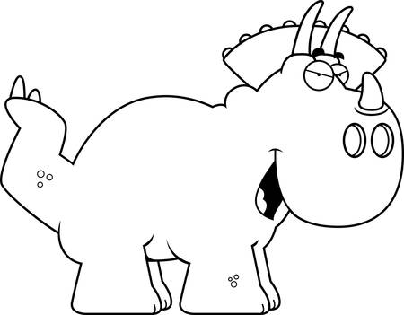 sly: A cartoon illustration of a Triceratops dinosaur with a sly expression. Illustration