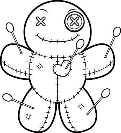 A cartoon illustration of a voodoo doll looking happy.