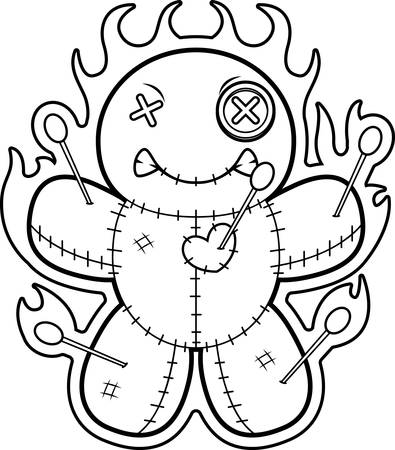 voodoo doll: A cartoon illustration of a voodoo doll with flames.