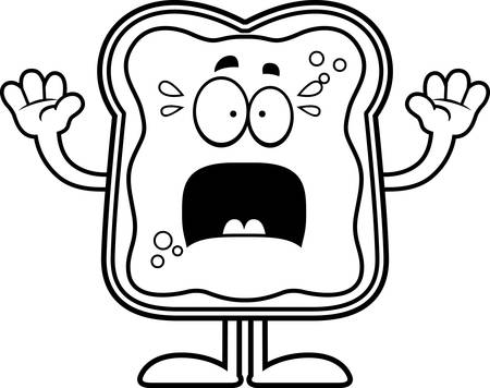 A cartoon illustration of a toast with jam looking scared. Çizim
