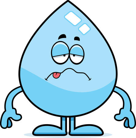 nauseous: A cartoon illustration of a water drop looking sick.