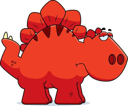 armoured: A cartoon illustration of a Stegosaurus dinosaur looking sad.