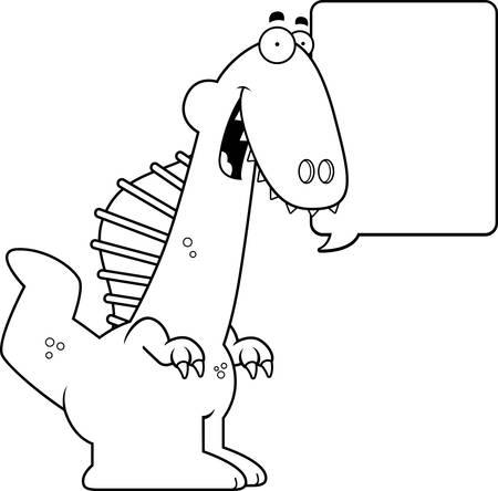 spinosaurus: A cartoon illustration of a Spinosaurus dinosaur talking. Illustration