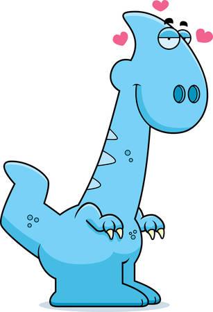infatuated: A cartoon illustration of a Parasaurolophus dinosaur in love.