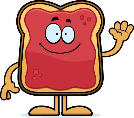 A cartoon illustration of a toast with jam waving. Stok Fotoğraf - 42990981