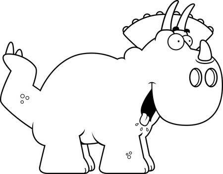 A cartoon illustration of a Triceratops dinosaur looking hungry.