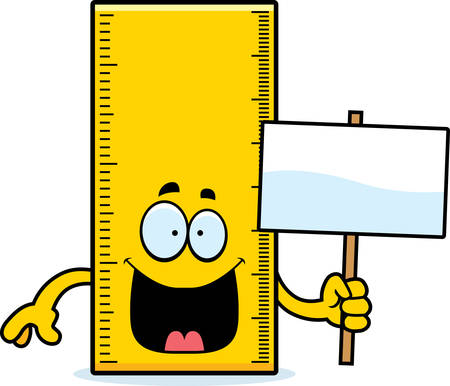 A cartoon illustration of a ruler holding a sign. Ilustrace