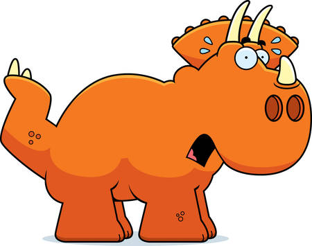 triceratops: A cartoon illustration of a Triceratops dinosaur looking scared. Illustration