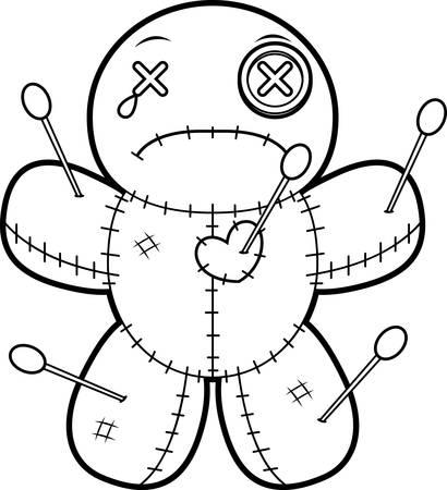 A cartoon illustration of a voodoo doll looking sad. Ilustração