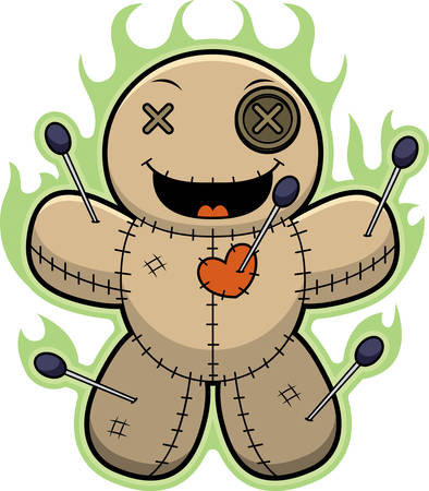 Voodoo doll: A cartoon illustration of a voodoo doll with magic flames.