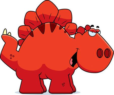 smirking: A cartoon illustration of a Stegosaurus dinosaur with a sly expression.