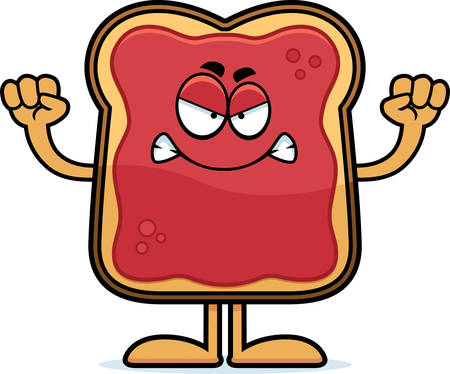 A cartoon illustration of a toast with jam looking angry.