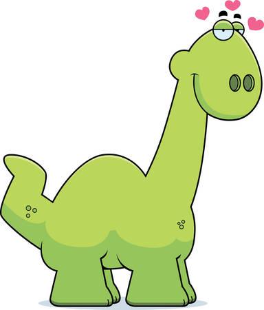 infatuated: A cartoon illustration of a Apatosaurus dinosaur in love.