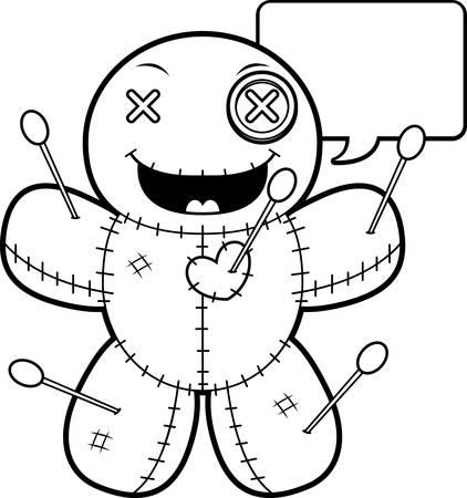 voodoo doll: A cartoon illustration of a voodoo doll talking.