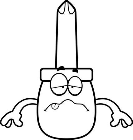 A cartoon illustration of a screwdriver looking sick. Illustration