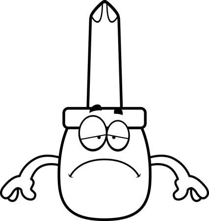A cartoon illustration of a screwdriver looking sad.