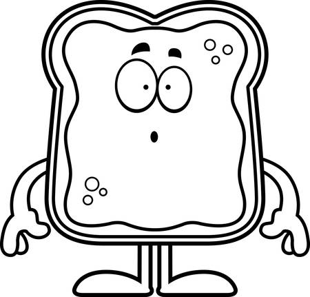 A cartoon illustration of a toast with jam looking surprised. Çizim