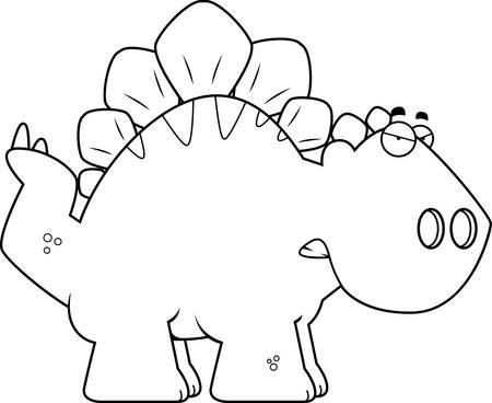 armoured: A cartoon illustration of a Stegosaurus dinosaur looking angry.