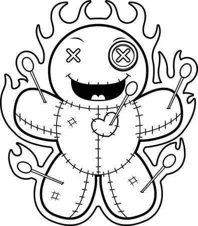 A cartoon illustration of a voodoo doll with magic flames.