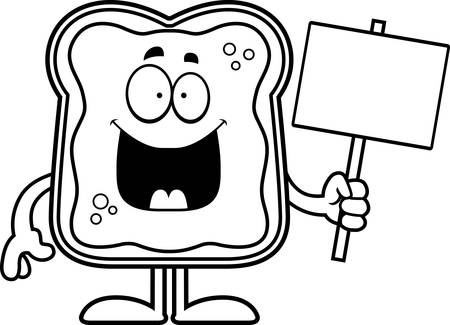 A cartoon illustration of a toast with jam holding a sign. Çizim