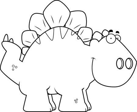 armoured: A cartoon illustration of a Stegosaurus dinosaur smiling.