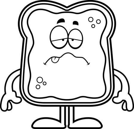 preserves: Una ilustraci�n de dibujos animados de un pan tostado con mermelada buscando enfermos.