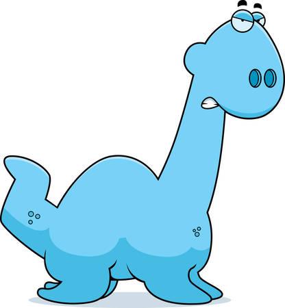 loch: A cartoon illustration of a Plesiosaur dinosaur looking angry. Illustration