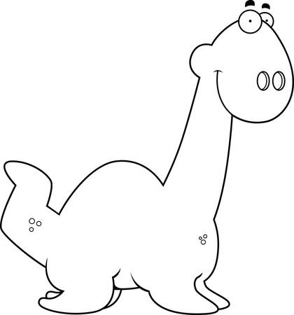 smirking: A cartoon illustration of a Plesiosaur dinosaur smiling. Illustration