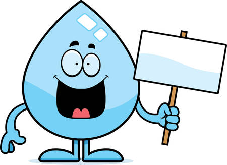 A cartoon illustration of a water drop holding a sign. Illusztráció
