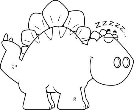 stegosaurus: A cartoon illustration of a Stegosaurus dinosaur sleeping.