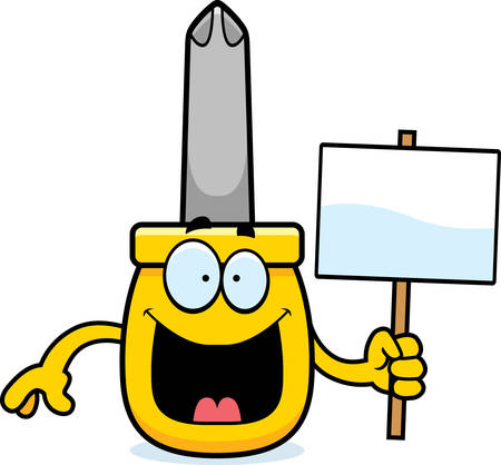 phillips: A cartoon illustration of a screwdriver holding a sign.