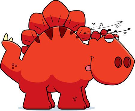 stegosaurus: A cartoon illustration of a Stegosaurus dinosaur looking drunk.