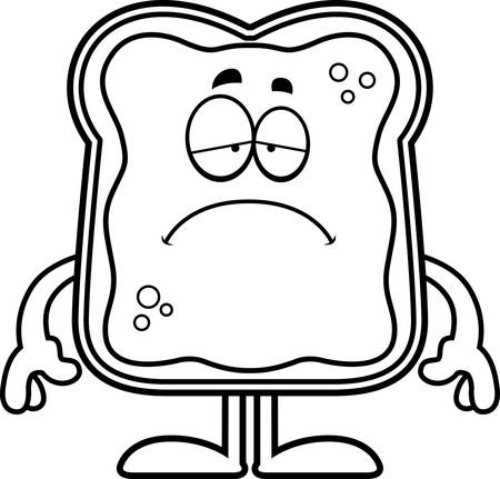 A cartoon illustration of a toast with jam looking sad.