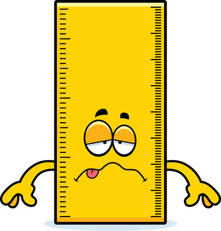 nauseous: A cartoon illustration of a ruler looking sick.