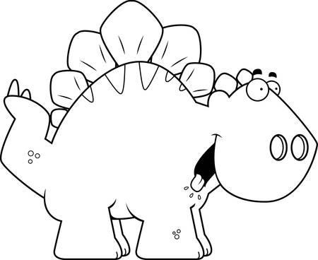 A cartoon illustration of a Stegosaurus dinosaur looking hungry. Illustration