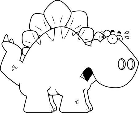 stegosaurus: A cartoon illustration of a Stegosaurus dinosaur looking scared.