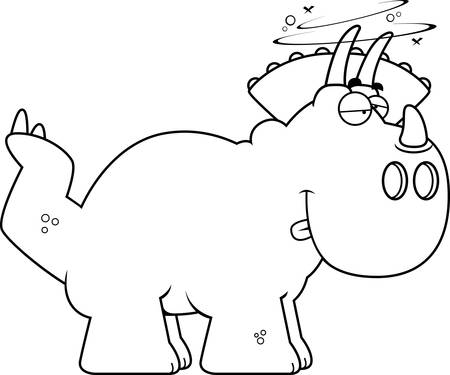 triceratops: A cartoon illustration of a Triceratops dinosaur looking drunk. Illustration