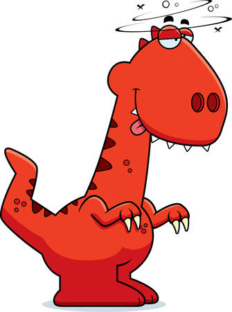 impaired: A cartoon illustration of a Velociraptor dinosaur looking drunk.