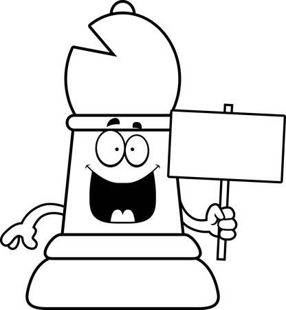 A cartoon illustration of a bishop chess piece holding a sign. Ilustração